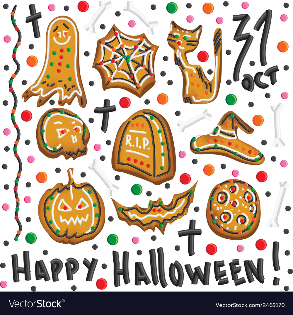 Halloween cookies symbols of halloween set vector | Price: 1 Credit (USD $1)