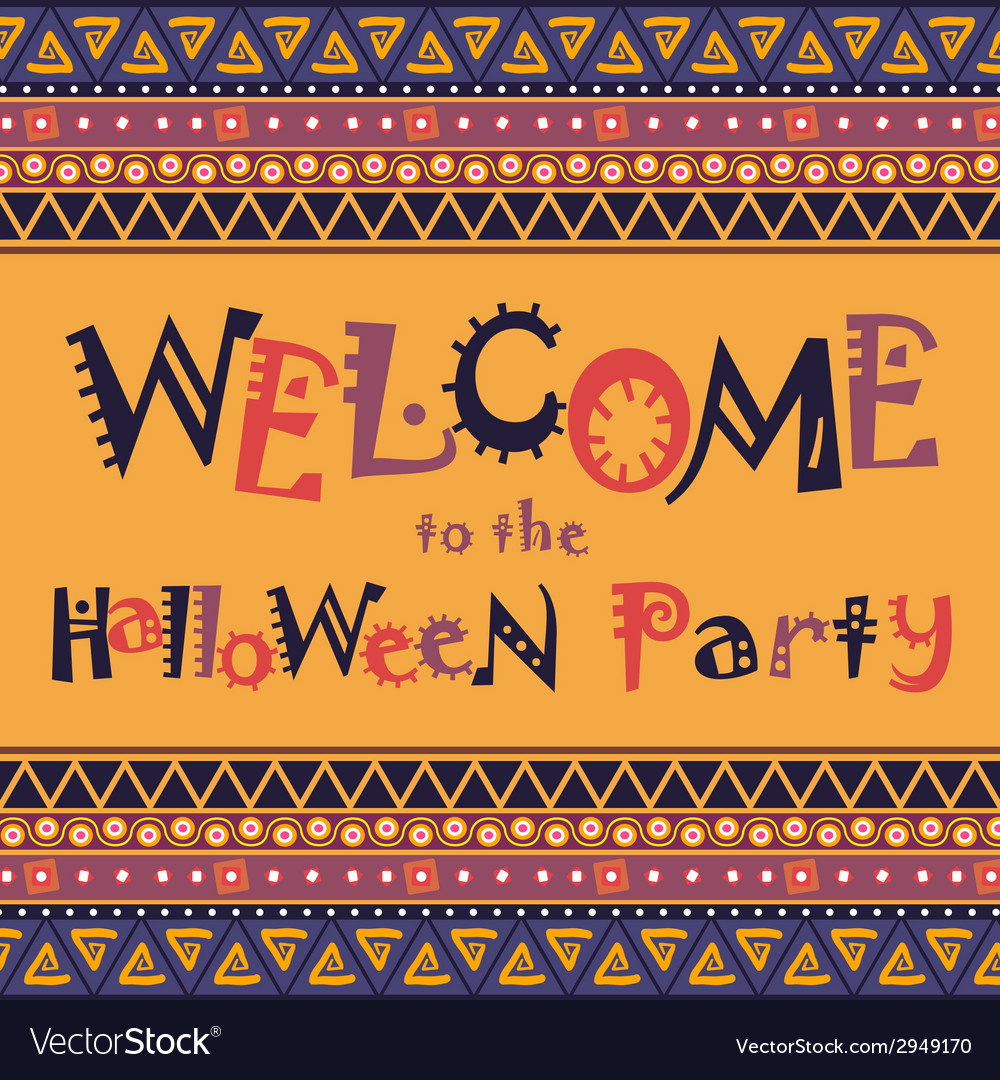 Happy halloween card with african ornament design vector | Price: 1 Credit (USD $1)
