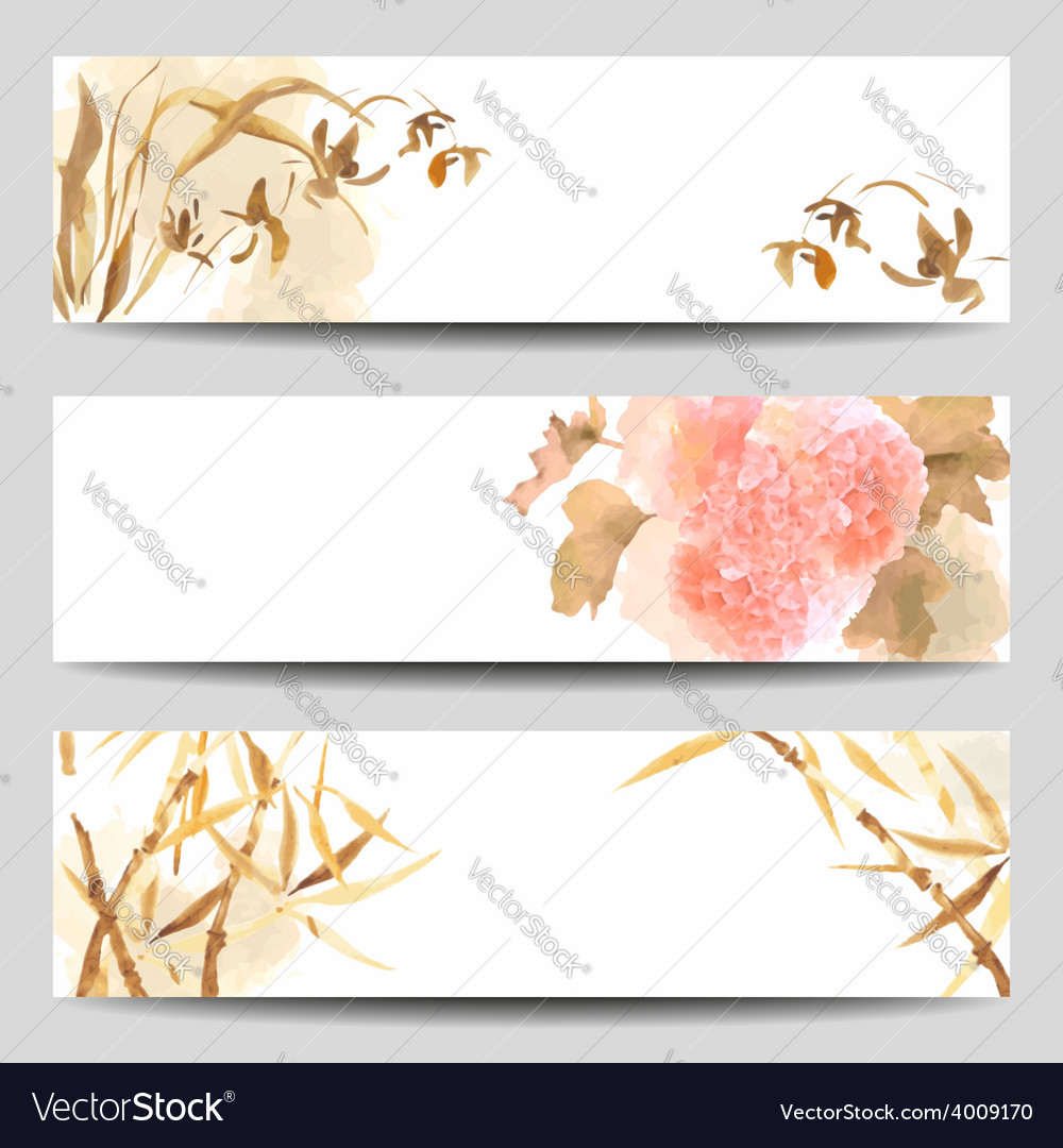 Oriental style watercolor banners vector | Price: 1 Credit (USD $1)