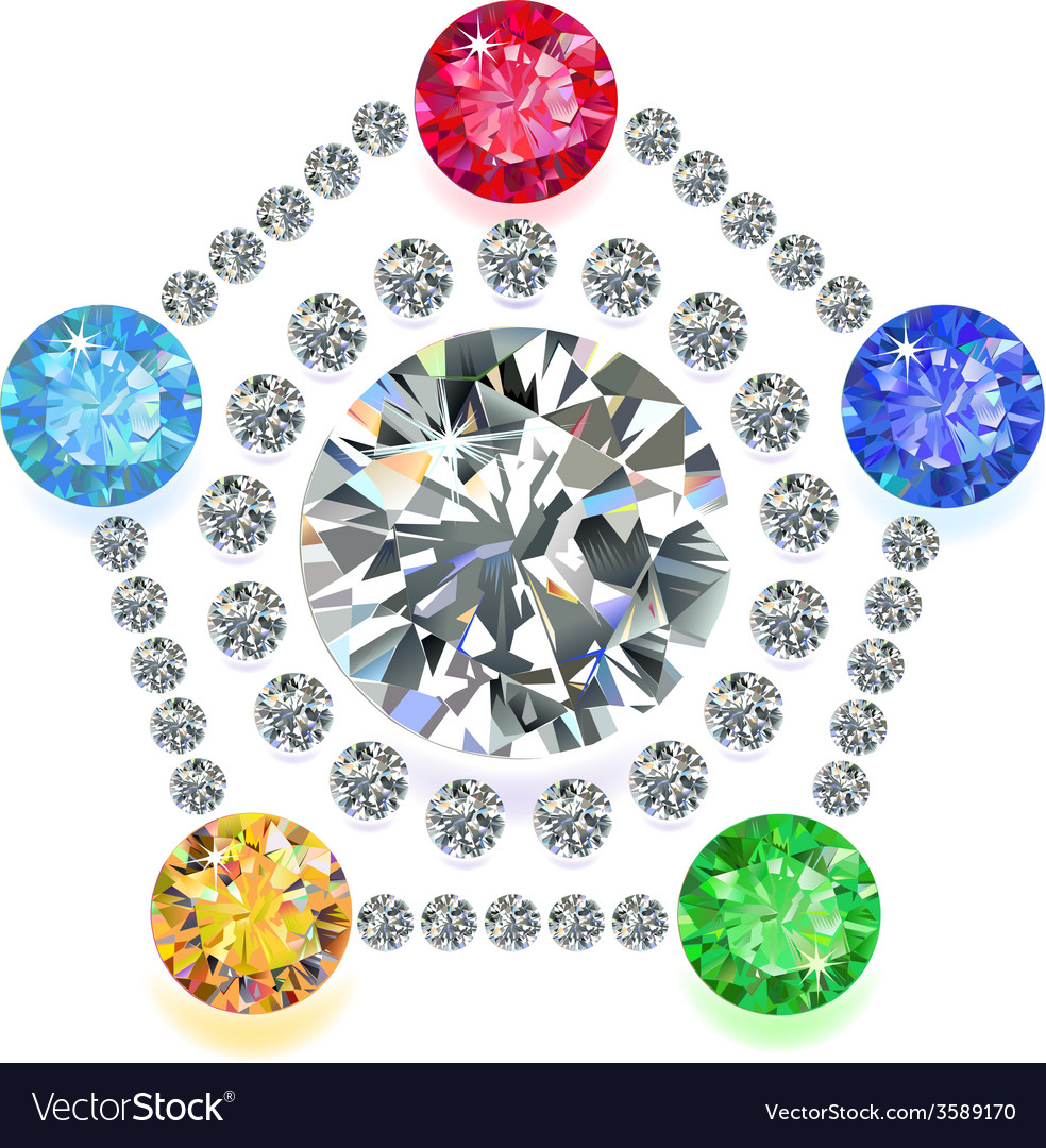 Pentagon composition colored gems set vector | Price: 1 Credit (USD $1)