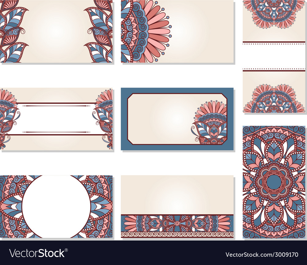 Set of ornamental business cards vector | Price: 1 Credit (USD $1)