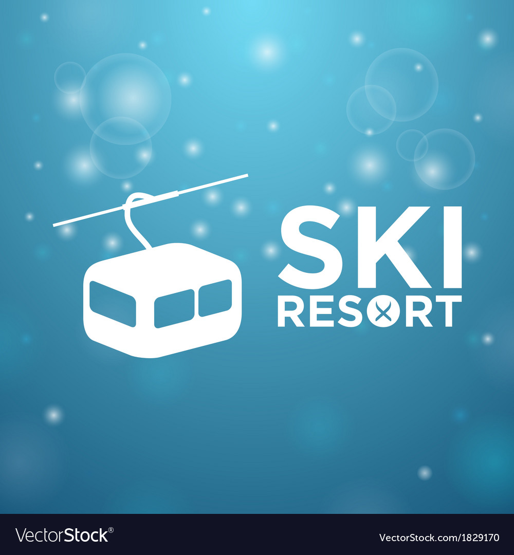 Ski resort ropeway on blue background vector | Price: 1 Credit (USD $1)