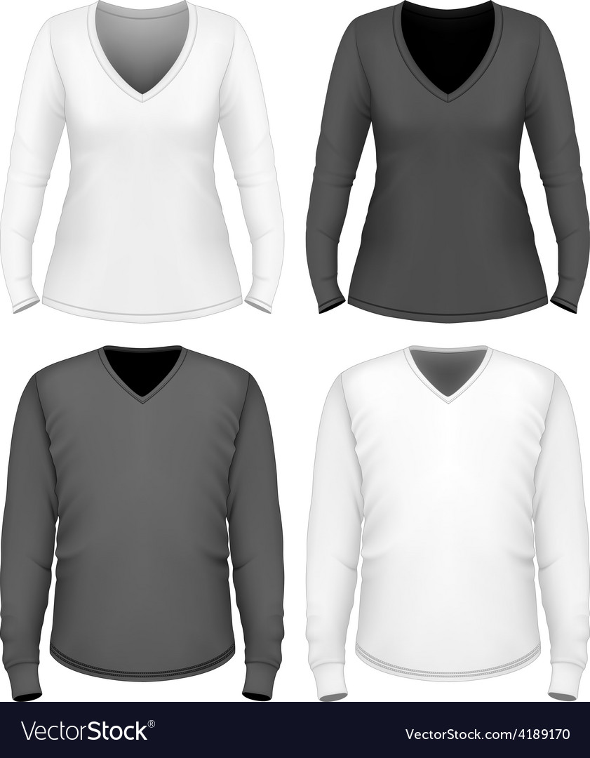 Women and men v-neck t-shirt long sleeve vector | Price: 1 Credit (USD $1)