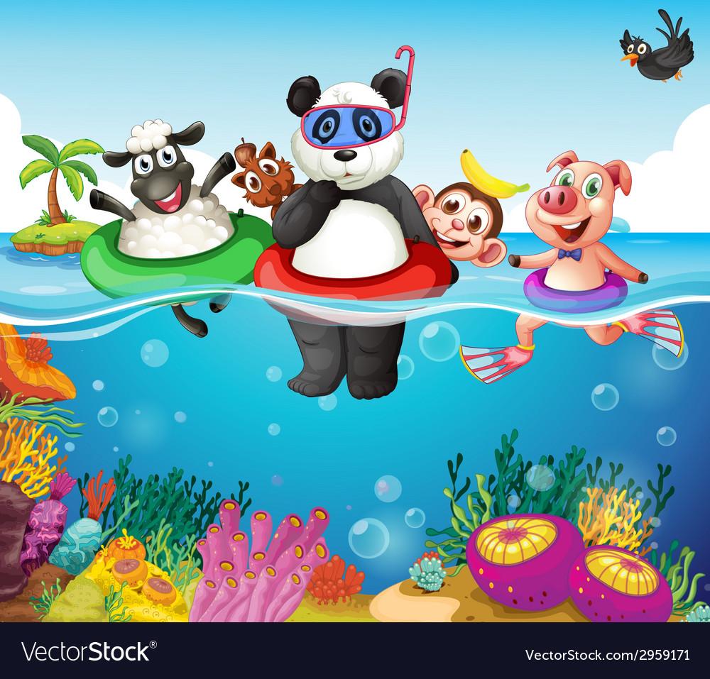 Animals and ocean vector | Price: 1 Credit (USD $1)