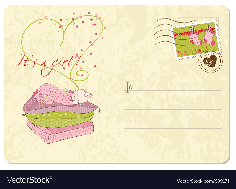 Baby girl arrival postard vector | Price: 1 Credit (USD $1)