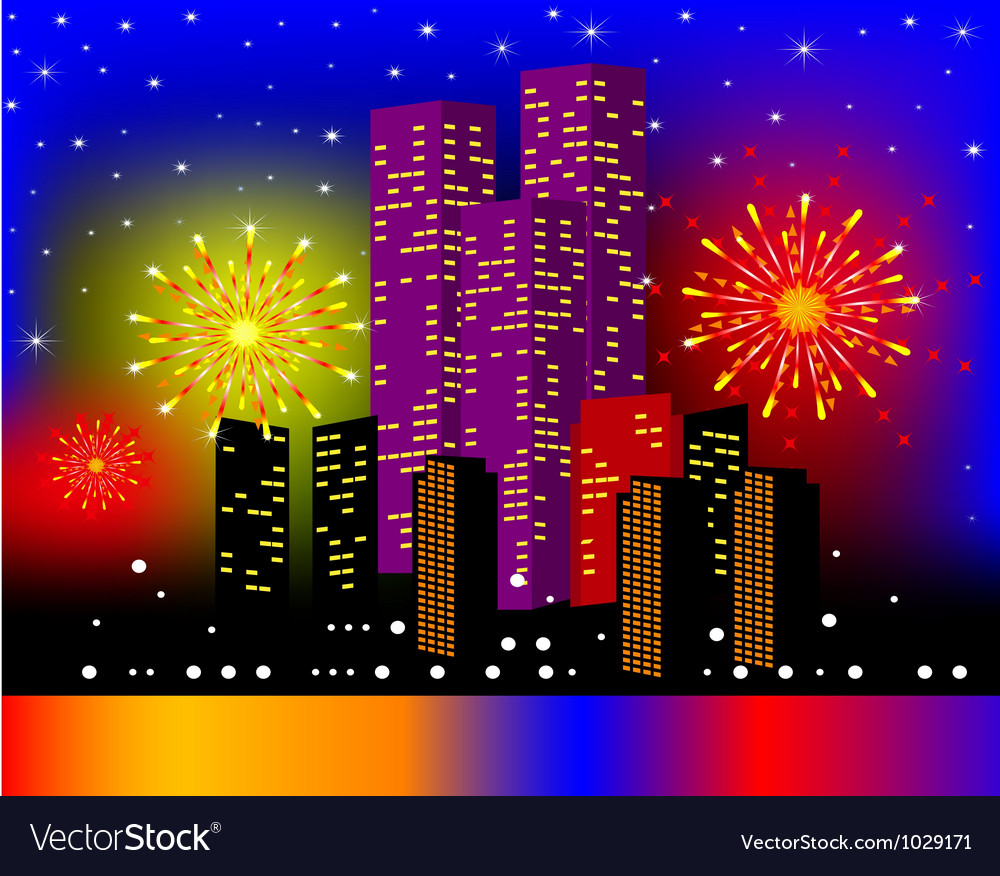 Background townhouses with festive firework in the vector | Price: 1 Credit (USD $1)