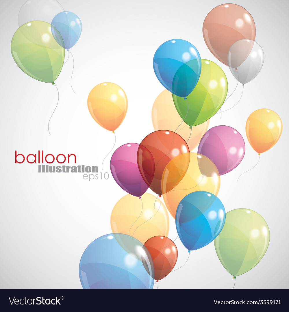 Background with multicolored balloons vector   Price: 1 Credit (USD $1)
