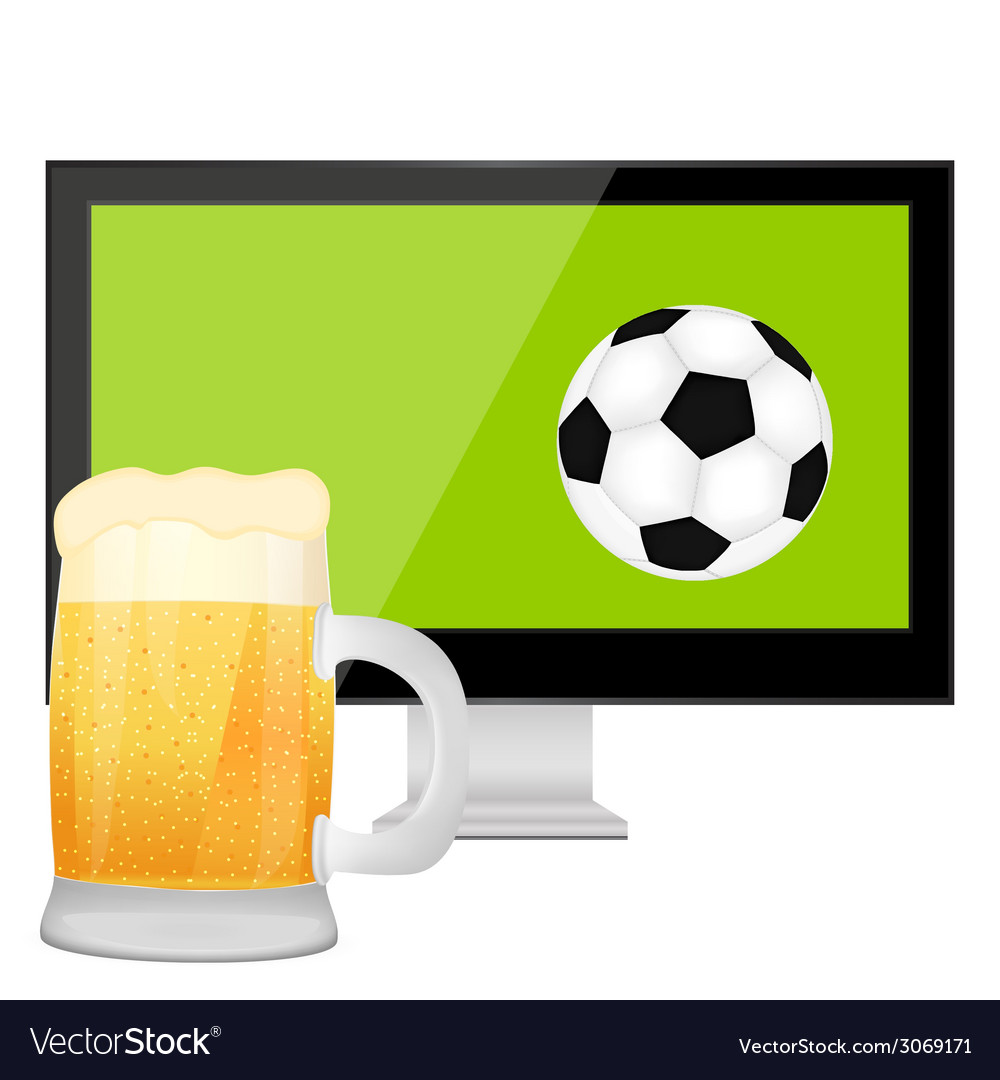 Ball into the tv screen and mug of beer vector | Price: 1 Credit (USD $1)