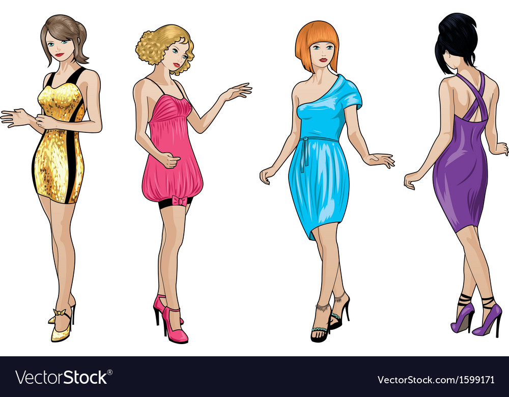 Beautiful girls in bright evening dresses 3 vector | Price: 1 Credit (USD $1)