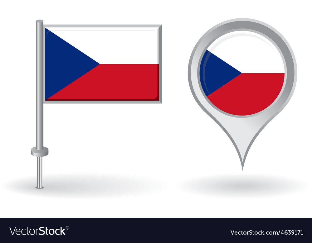 Czech pin icon and map pointer flag vector | Price: 1 Credit (USD $1)