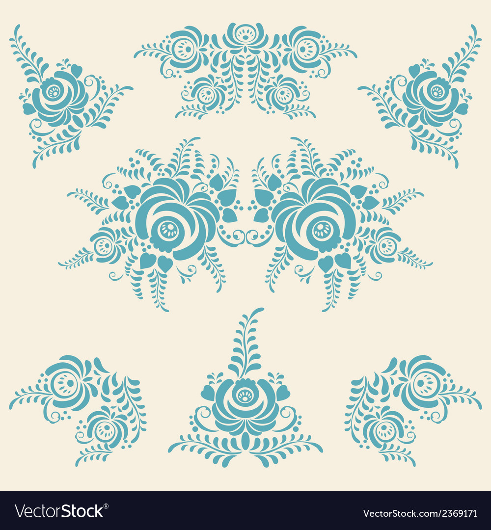 Floral blue elements in gzhel style vector | Price: 1 Credit (USD $1)