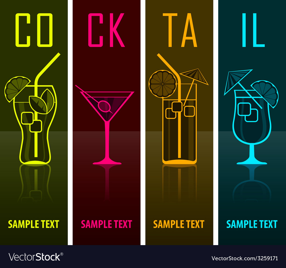 Four cocktail silhouettes on vector | Price: 1 Credit (USD $1)