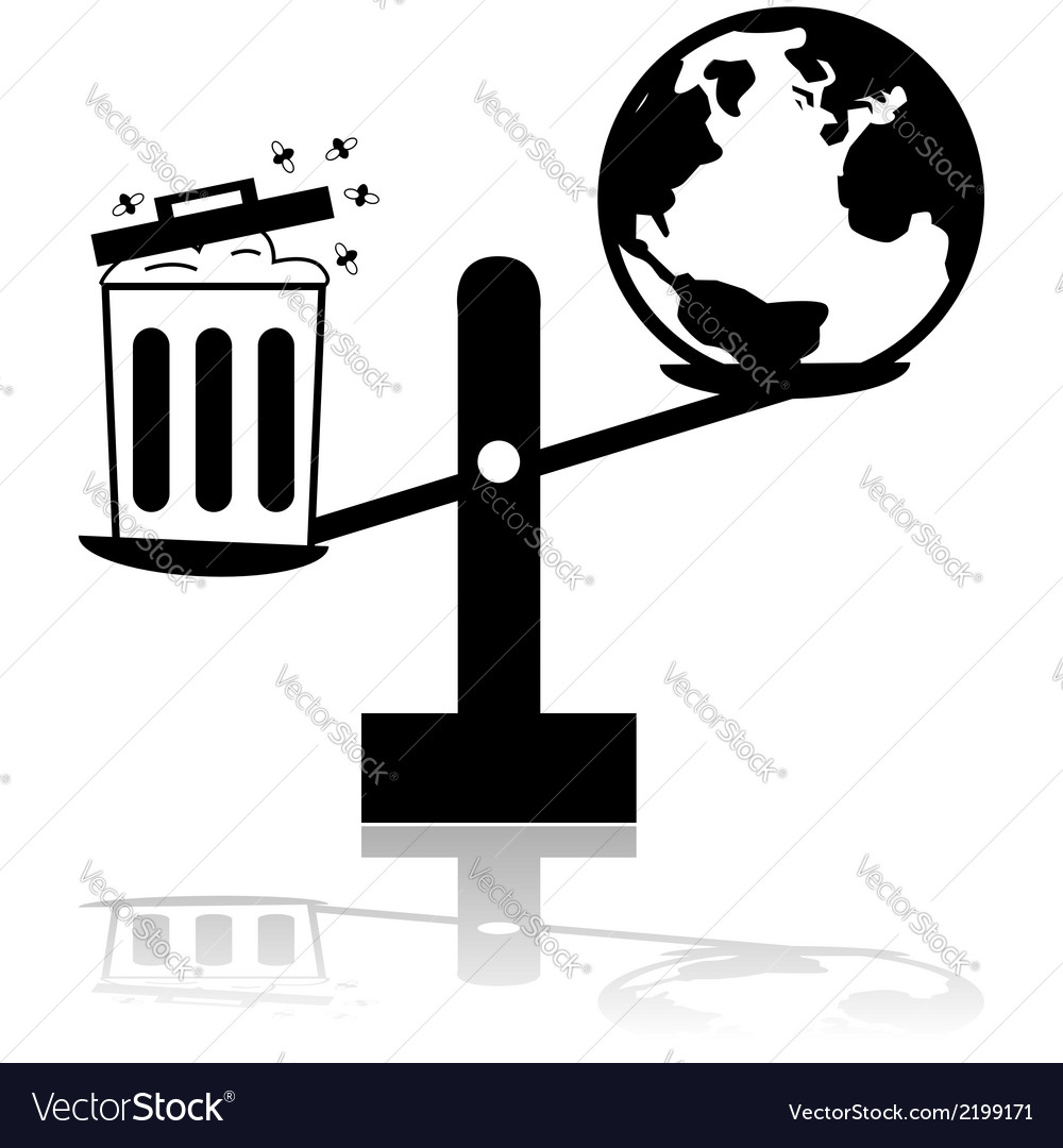 Garbage and earth scale vector | Price: 1 Credit (USD $1)