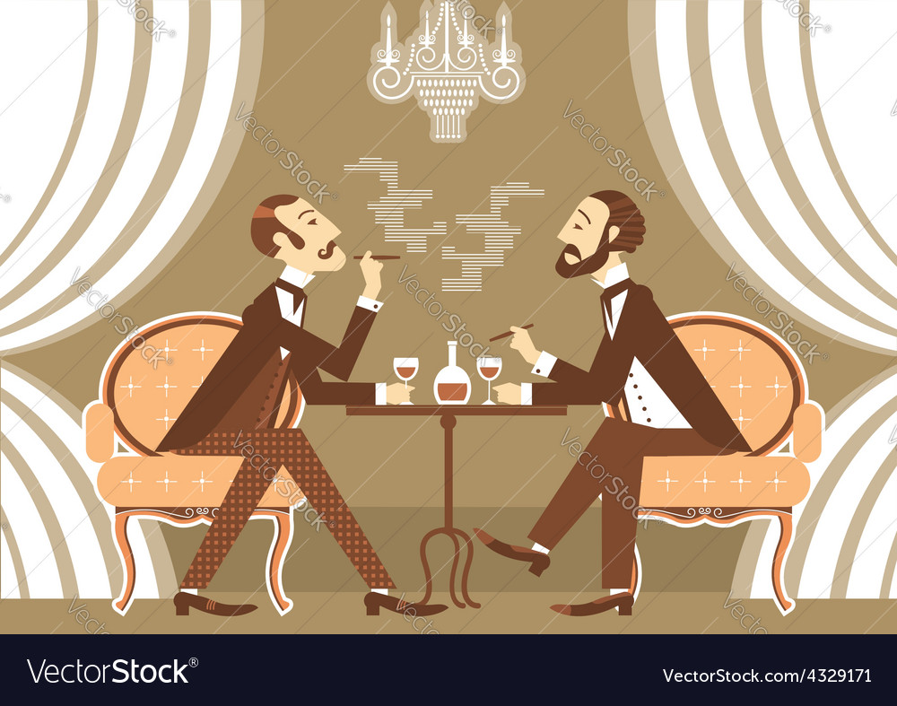 Gentlemen talking and drinking alcohol in club vector | Price: 1 Credit (USD $1)