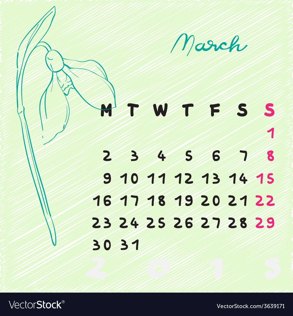 March 2015 flowers vector | Price: 1 Credit (USD $1)