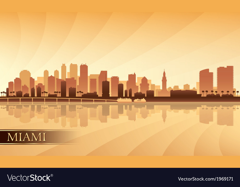 Miami city skyline silhouette background vector | Price: 1 Credit (USD $1)