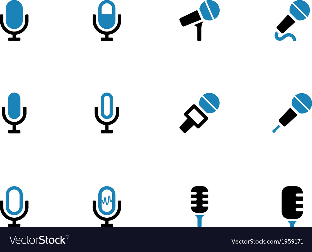 Microphone duotone icons on white background vector | Price: 1 Credit (USD $1)
