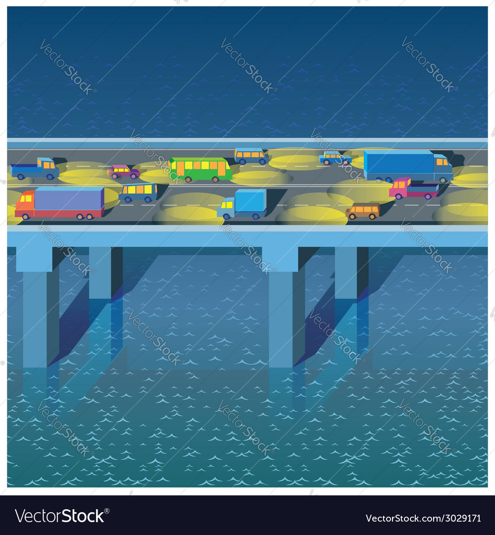Night bridge with cars vector | Price: 1 Credit (USD $1)