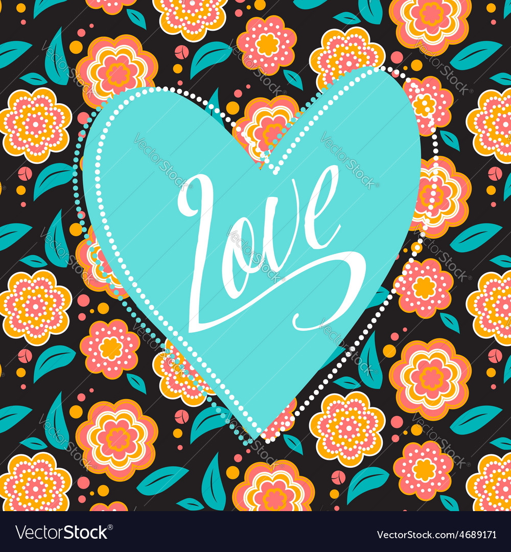 Postcard with turquoise heart on dark floral vector   Price: 1 Credit (USD $1)