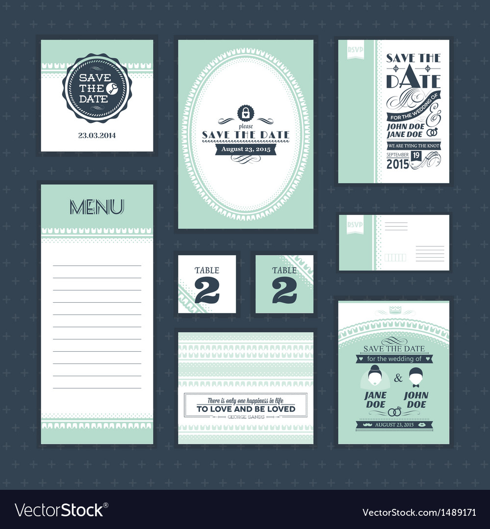 Set of vintage wedding cards vector | Price: 1 Credit (USD $1)