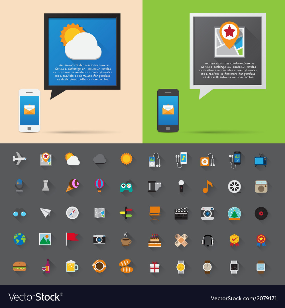 Smartphone alert and flat icons collection set 3 vector | Price: 1 Credit (USD $1)