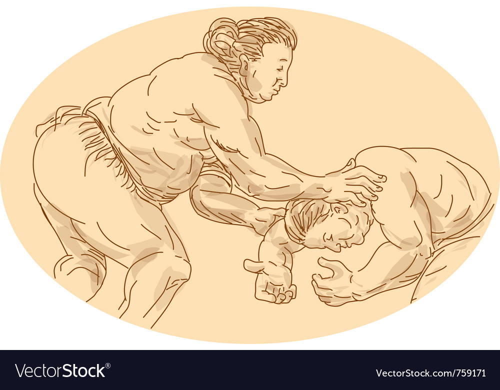 Sumo wrestlers wrestling vector | Price: 1 Credit (USD $1)
