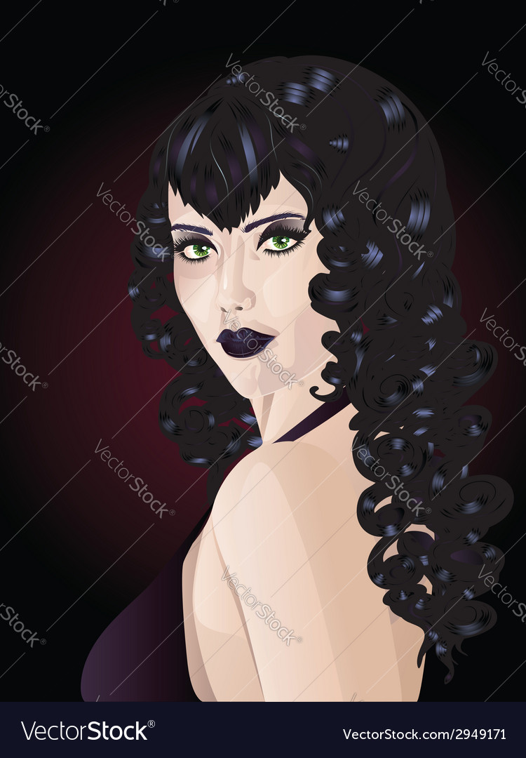 Witch with black hair vector | Price: 1 Credit (USD $1)