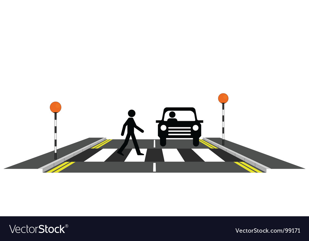 Zebra crossing pedestrian vector | Price: 1 Credit (USD $1)