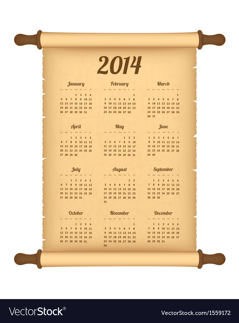 Calendar 2014 on parchment roll vector | Price: 1 Credit (USD $1)