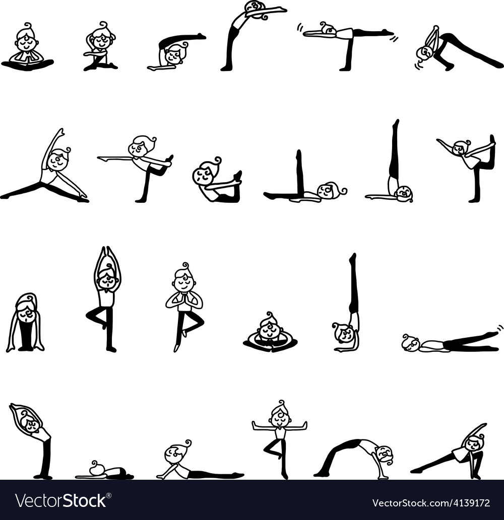 Cartoon character woman practicing yoga vector | Price: 1 Credit (USD $1)