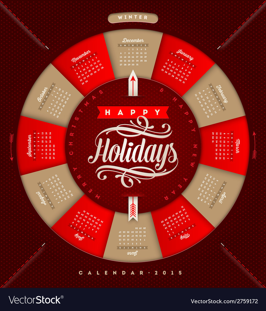 Christmas calendar 2015 vector | Price: 1 Credit (USD $1)