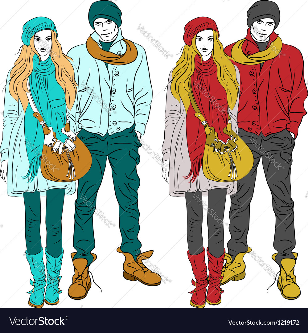 Fashion stylish guy and girl in warm cloth vector | Price: 5 Credit (USD $5)