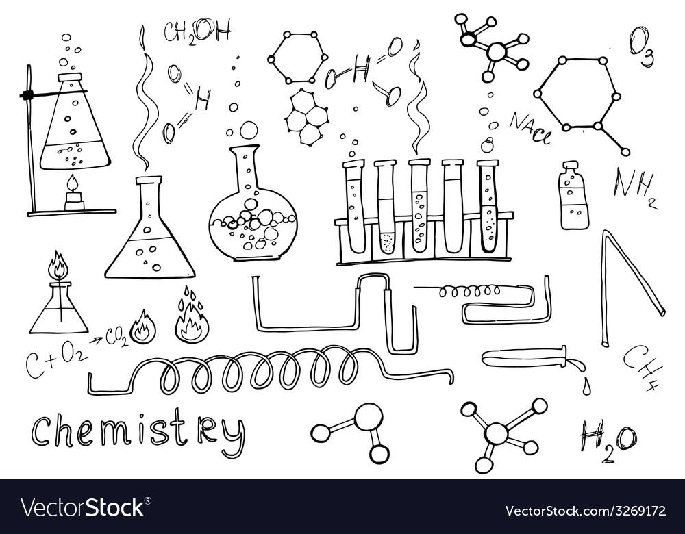 Hand drawn chemistry set vector | Price: 1 Credit (USD $1)