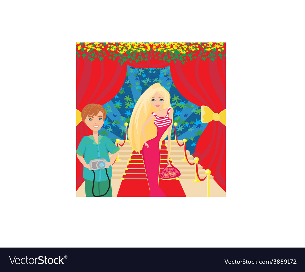 Movie star poses on the red carpet vector | Price: 1 Credit (USD $1)
