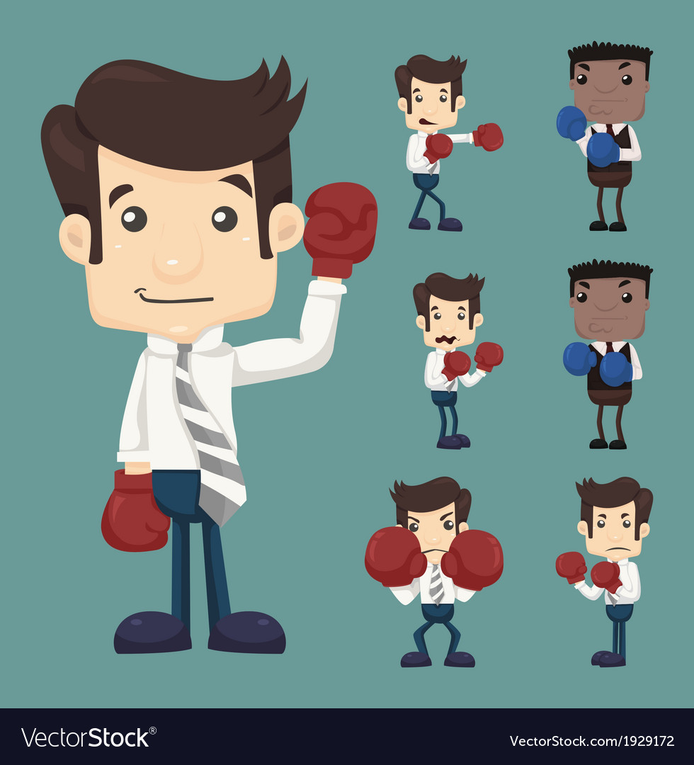 Set of businessman fight with boxing gloves charac vector | Price: 1 Credit (USD $1)