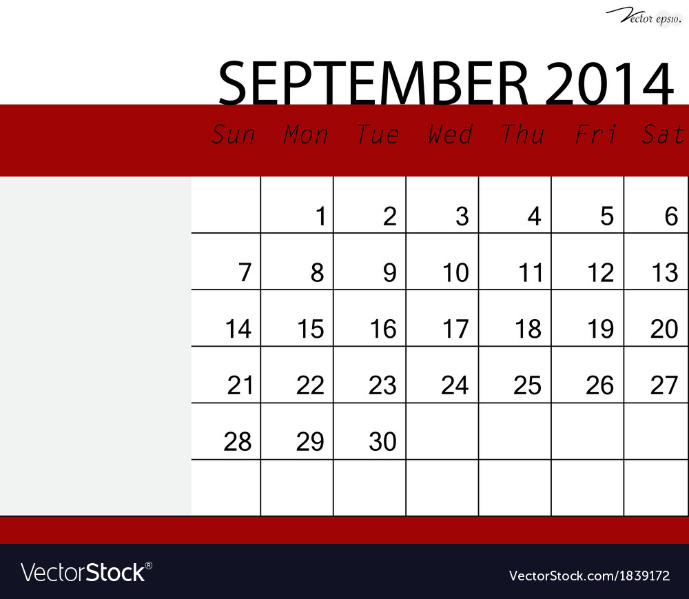 Simple 2014 calendar september vector | Price: 1 Credit (USD $1)