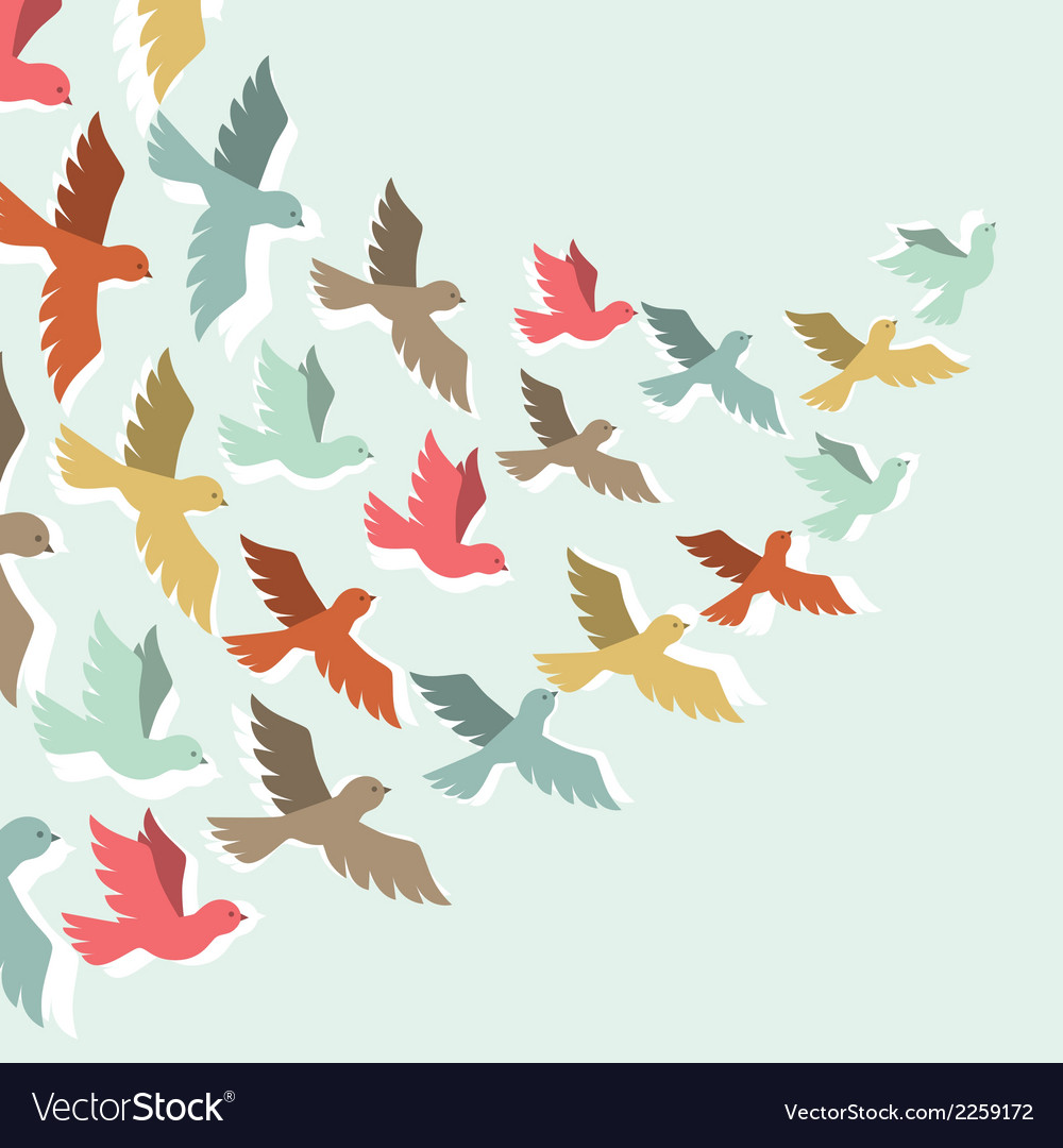 Sky background with stylized color flying birds vector | Price: 1 Credit (USD $1)