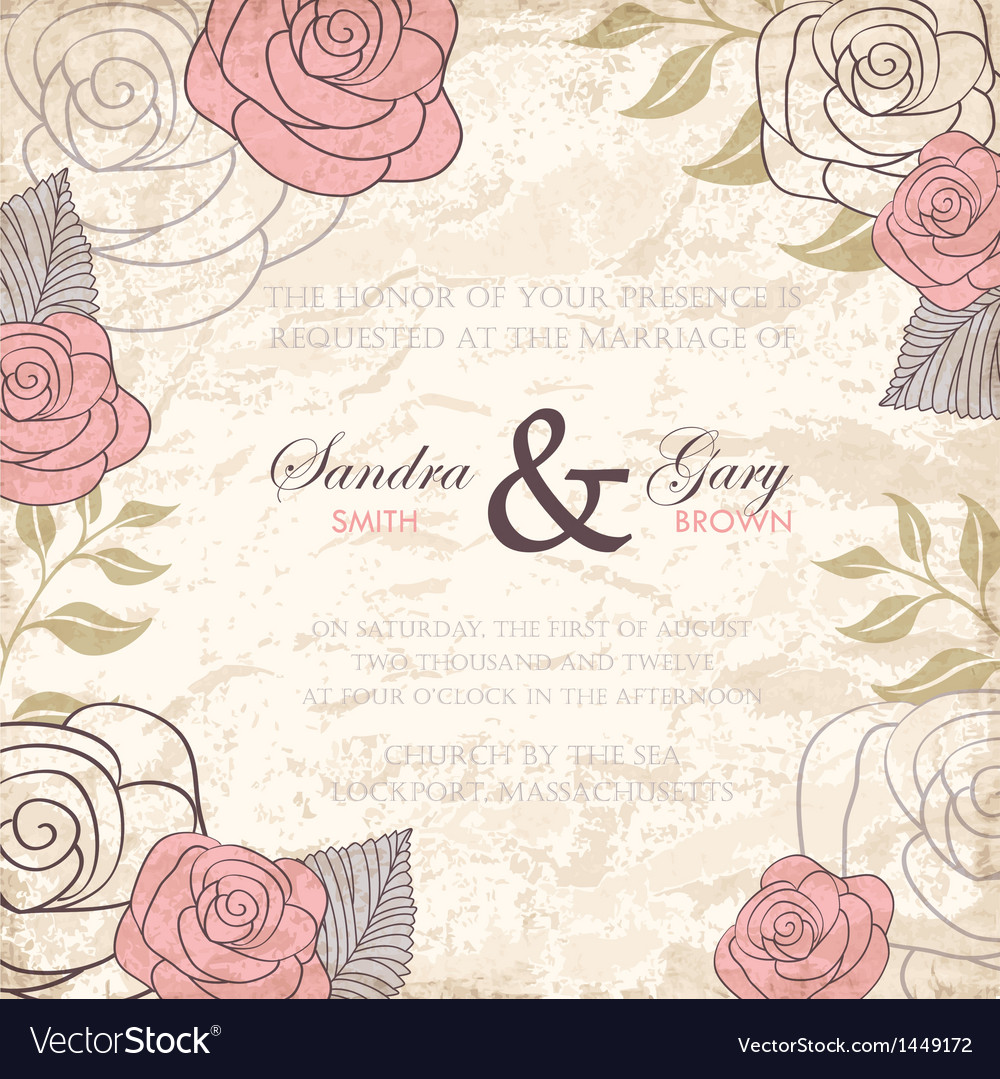 Vintage floral wedding invitation with roses vector | Price: 1 Credit (USD $1)