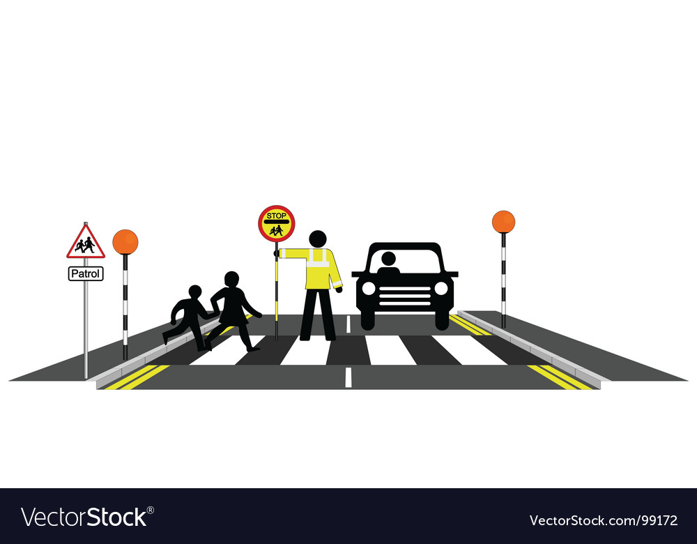 Zebra crossing school patrol vector | Price: 1 Credit (USD $1)