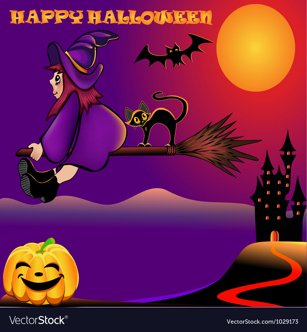 Background halloween with pumpkin and house vector | Price: 1 Credit (USD $1)
