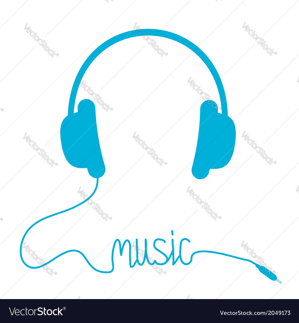 Blue headphones with cord in shape of word music vector | Price: 1 Credit (USD $1)