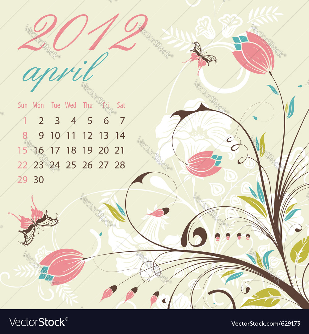 Calendar for 2012 april vector | Price: 1 Credit (USD $1)