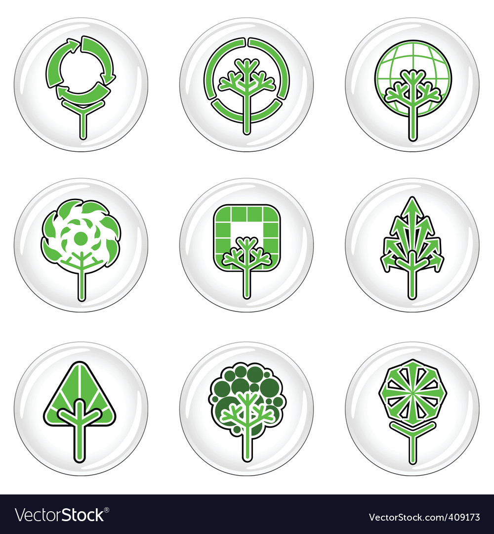Ecology tree icons vector | Price: 1 Credit (USD $1)