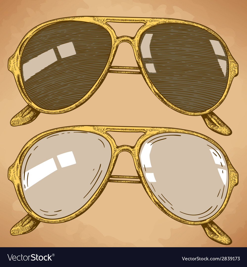 Engraving sunglasses retro vector | Price: 1 Credit (USD $1)