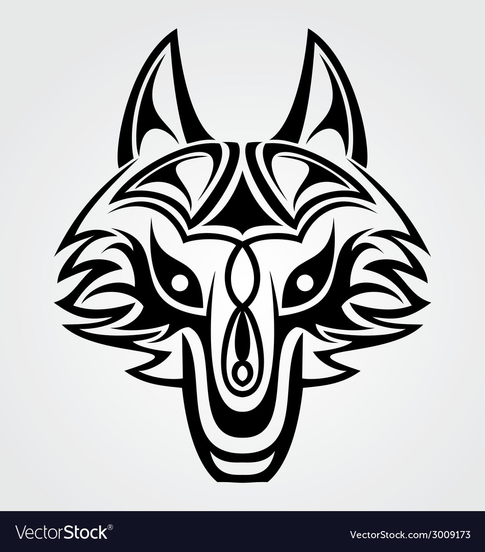 Fox head tribal vector | Price: 1 Credit (USD $1)