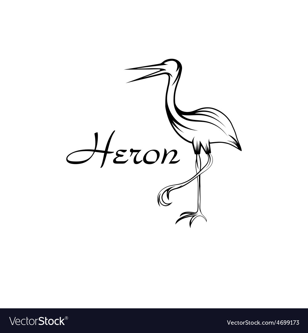 Heron bird in outline style vector | Price: 1 Credit (USD $1)