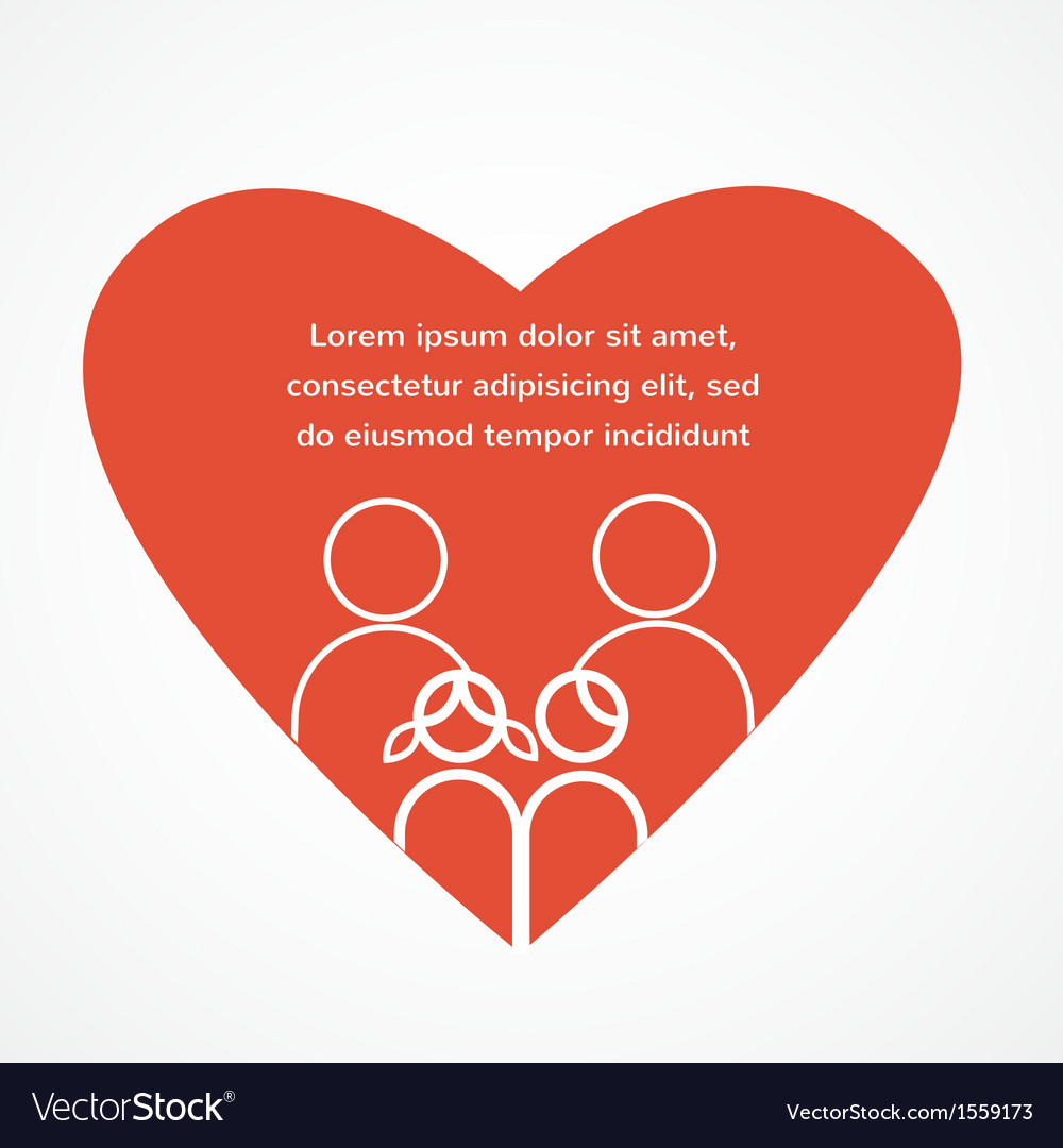 Love of a family red heart with parents and kids vector | Price: 1 Credit (USD $1)
