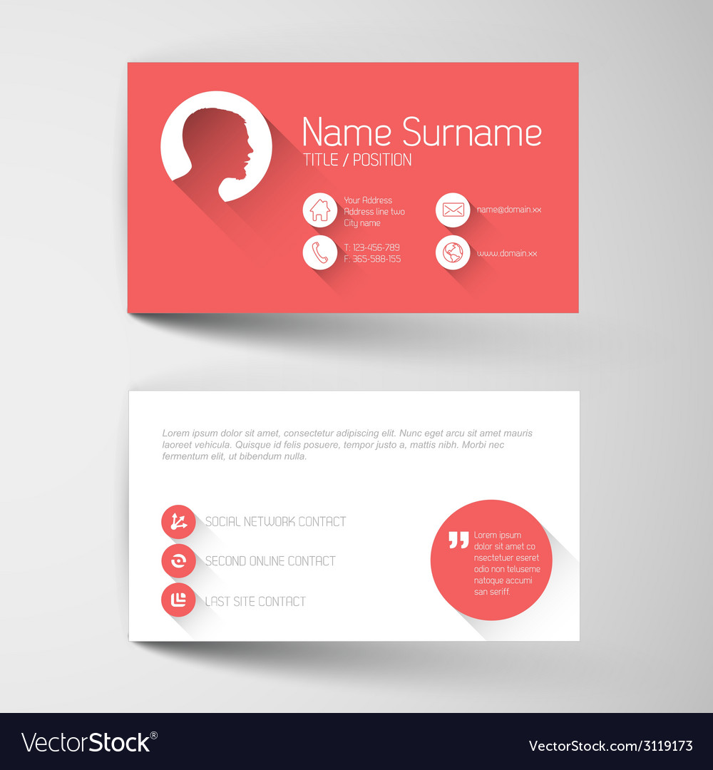 Modern red business card template with flat user vector | Price: 1 Credit (USD $1)
