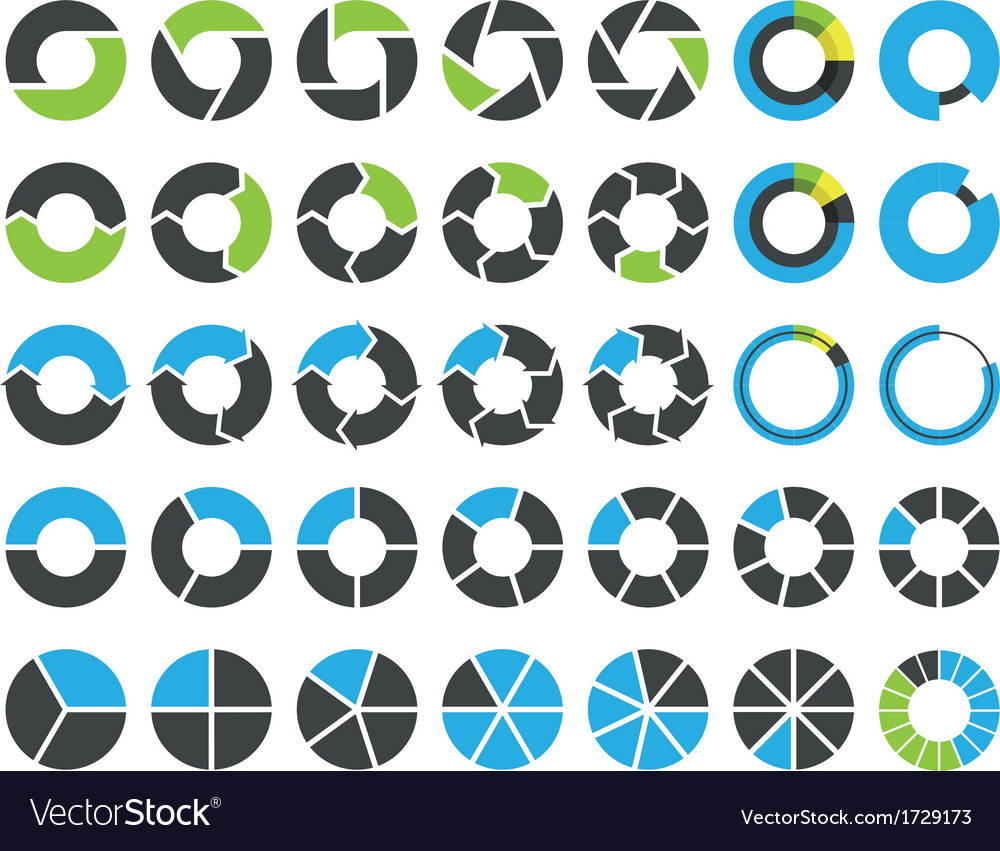 Pie charts and circular graph infographic kit vector | Price: 1 Credit (USD $1)