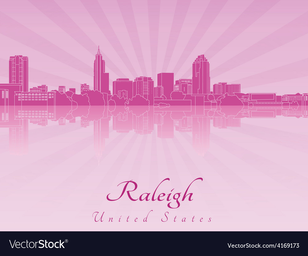 Raleigh skyline in purple radiant orchid vector | Price: 1 Credit (USD $1)